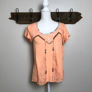 Open Back Tee Shirt Lace Bead Detail Floral Trim